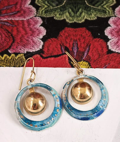 Gitana Blue Hand Painted Brass and Sealed Gouache Paint Earrings