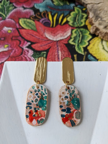 Josefina Green-Red Hand Painted Acetate and Sealed Gouache Paint Earrings