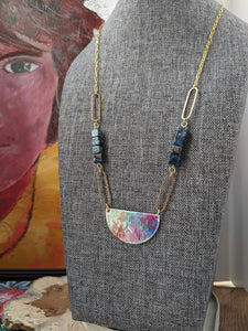 Maya Blue Statement Hand Painted Brass and Sealed Gouache Paint Necklace