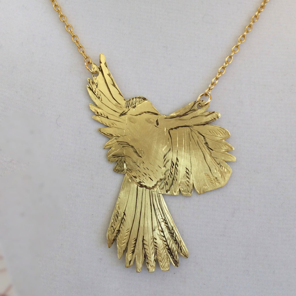 Hand Engraved Bird Necklace