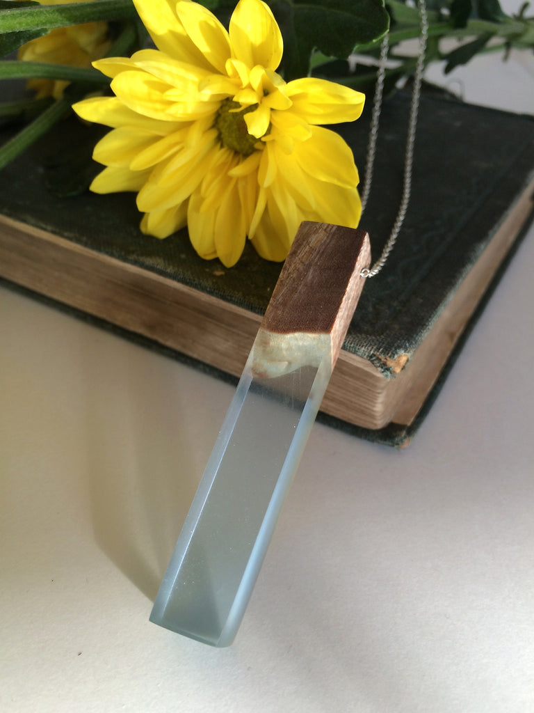 Wood and Blue Resin Necklace