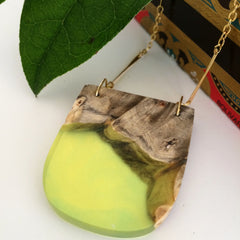 Green Resin and Wood Necklace
