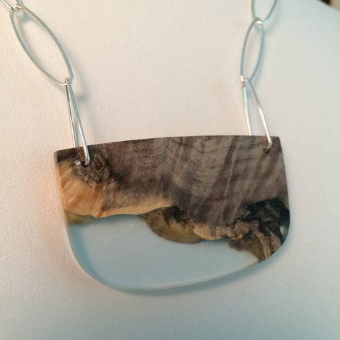 Light Blue Resin and Wood Pendant