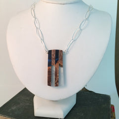 Two Color Blue and Wood Pendant