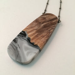Black and White Resin and Wood Pendant