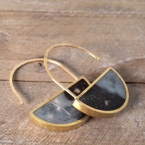 Half Circle Brass and Resin Earrings