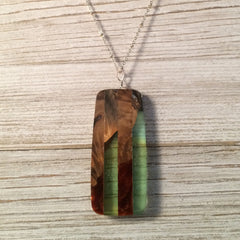 Oval Red and Green Wood Necklace