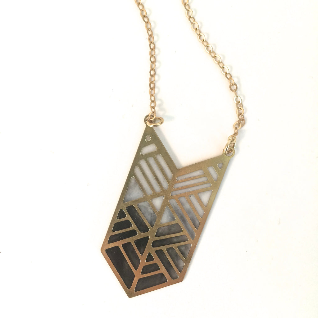 Brass Chevron and Resin Necklace