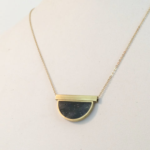 Half Circle Brass and Resin Necklace with Brass Bar