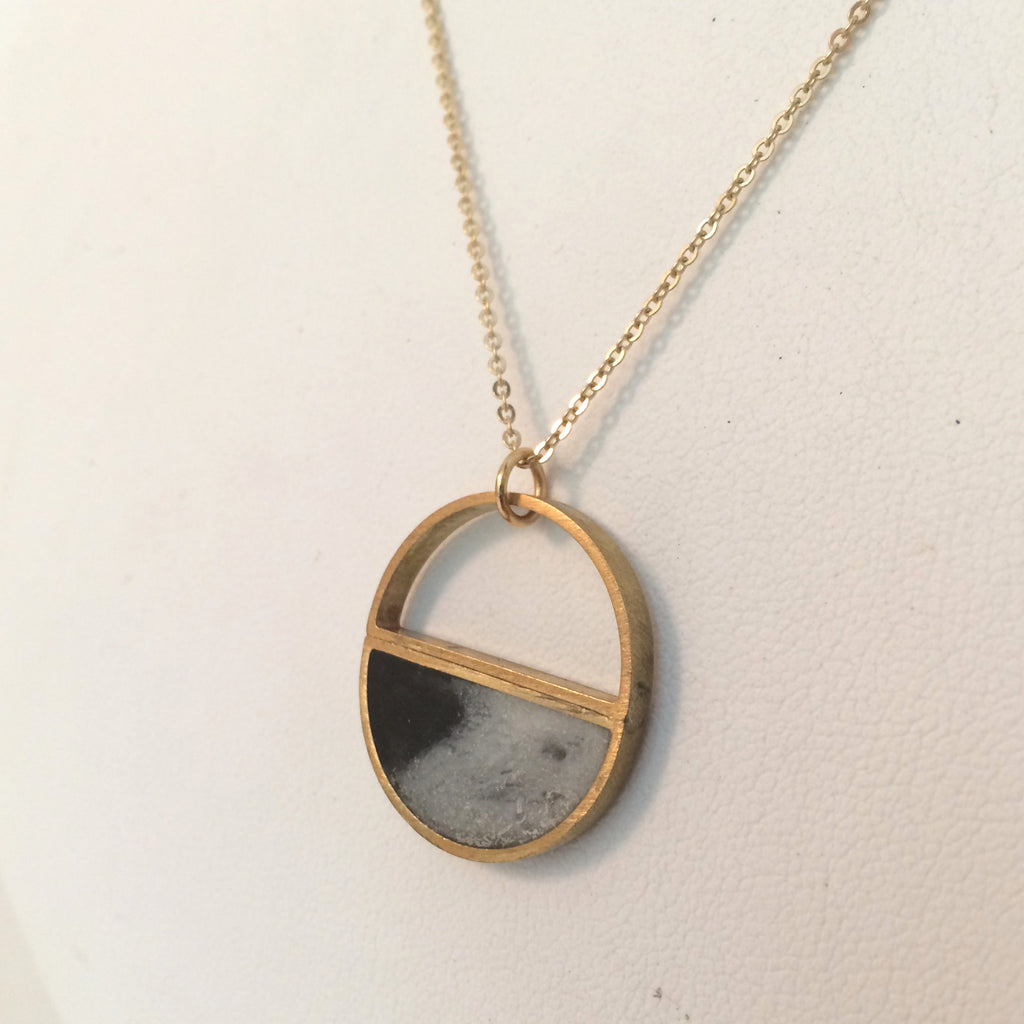 Brass circle and Resin Necklace