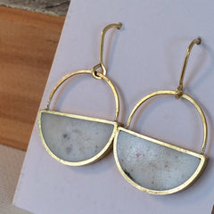 Half Moon Brass Earrings and White Resin