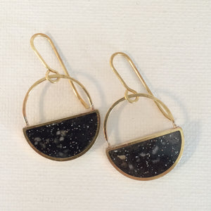Half Moon Brass And Black Resin Earrings