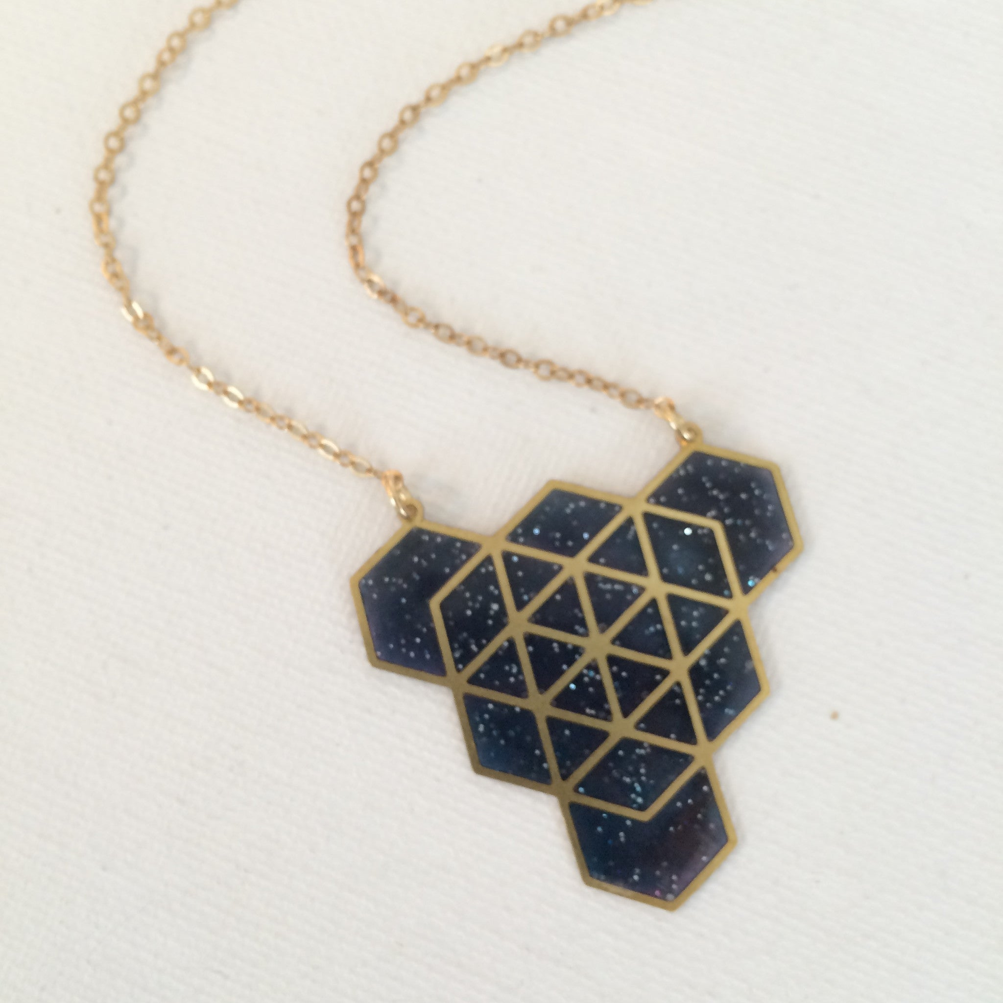 Brass Hexagons with Resin Necklace