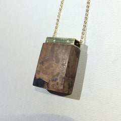 Wood and Resin Pendant with Brass Bar