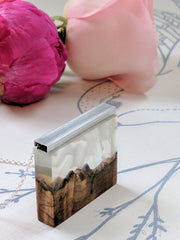 Wood and Resin Cloudy Mountain Landscape, Silver Chain