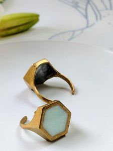 Hexagon Brass and Prehnite Colored Resin Ring