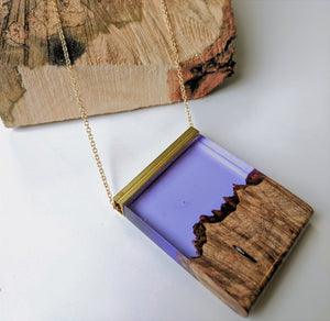 Sunset in Appalachia Wood and Resin Necklace - 14 K Gold Filled Chain