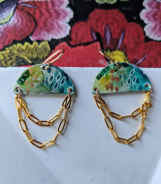 Cecilia Forest Hues Hand Painted Brass and Sealed Gouache Paint Earrings