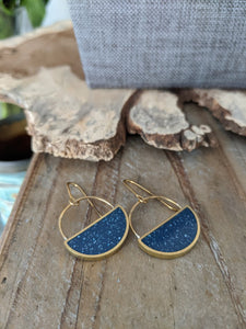 Midnight Sky Half Moon Dangle Earrings