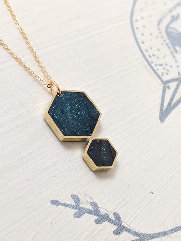 """Midnight In The Desert"" Double Hexagon Necklace"