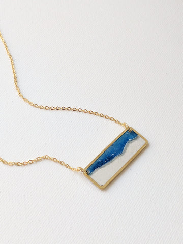 Mini Moonscape Brass and Resin Necklace