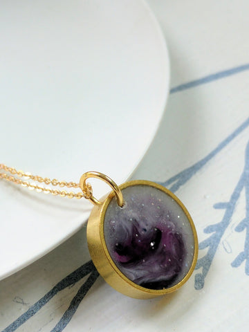 Nebulae Resin and Brass Necklace