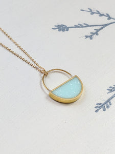 White Chocolate and Mint Brass Resin Half Moon Necklace