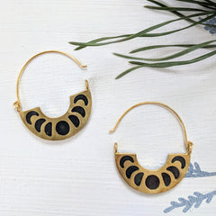 Moon Phases Brass and Resin Earrings