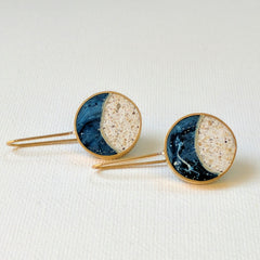 Moonscape Brass and Resin Earrings