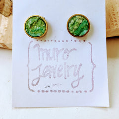 Mossy Resin and Brass Circular Post Earrings
