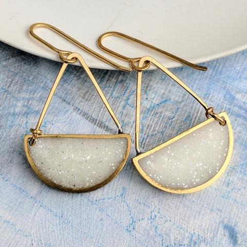 Half-Circle Triangle Brass and Resin Earrings, Pearl White Color