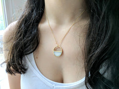 Brass and Resin White Half Moon Necklace