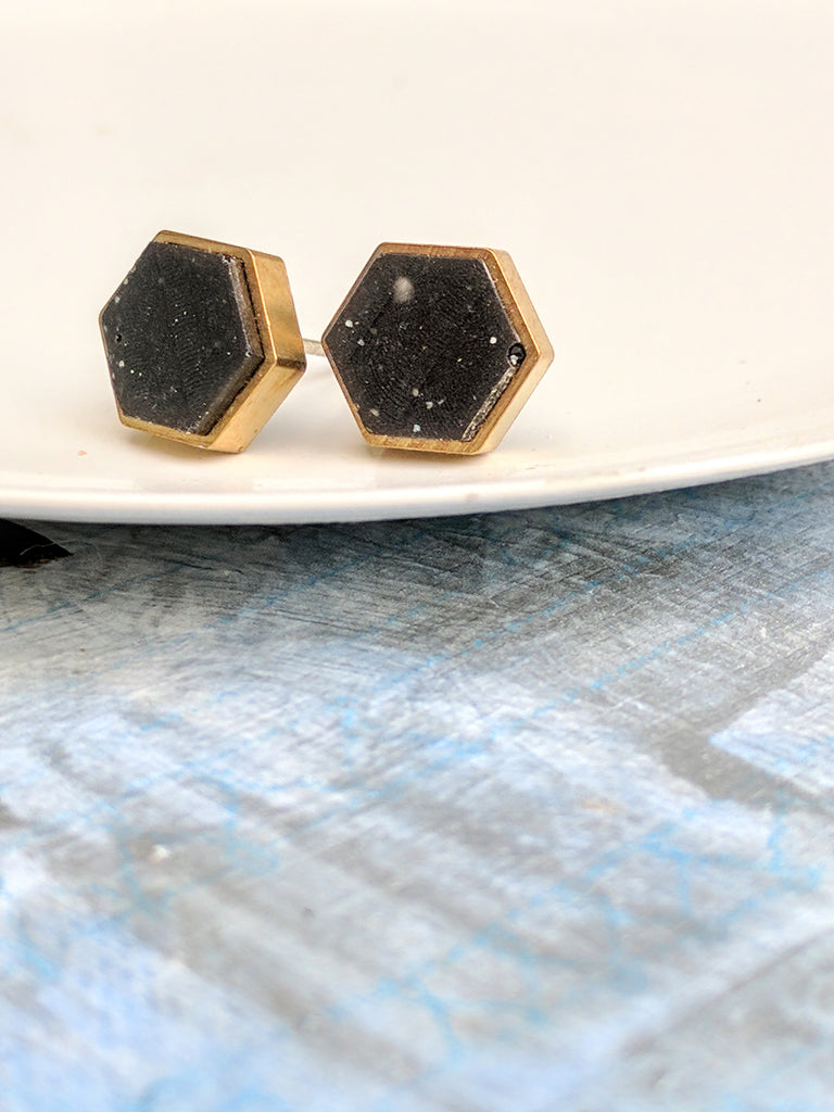 Mini Obsidian-Colored Hexagon Posts