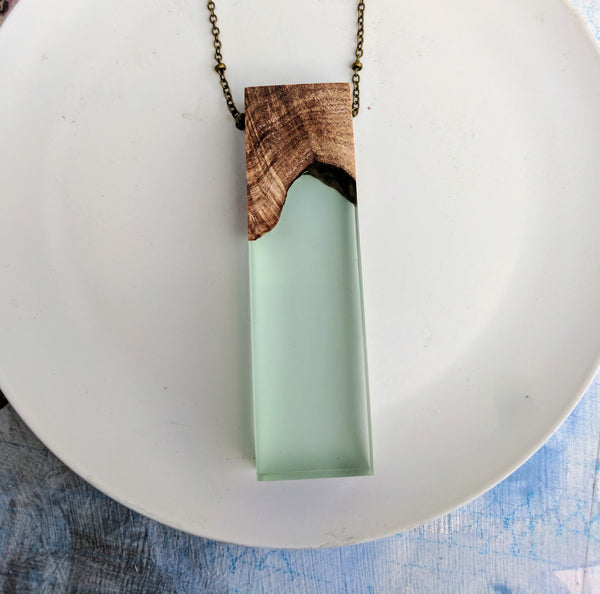Wood and Light Green Resin Rectangle Necklace
