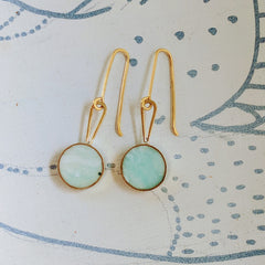 Swirling Minty Green Resin and Brass Earrings