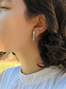 Ellipse Gold Plated Brass and Resin Post Earrings