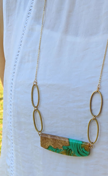Swirling Turquoise and Golden Resin Wood Necklace