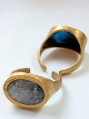 Adjustable Oval Brass and Marbled Resin Ring
