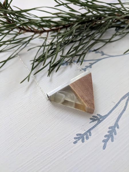 Clear White Ribbons Wood and Resin Pendant