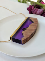 Royal Purple Wood and Resin Landscape with Gold Plated Chain