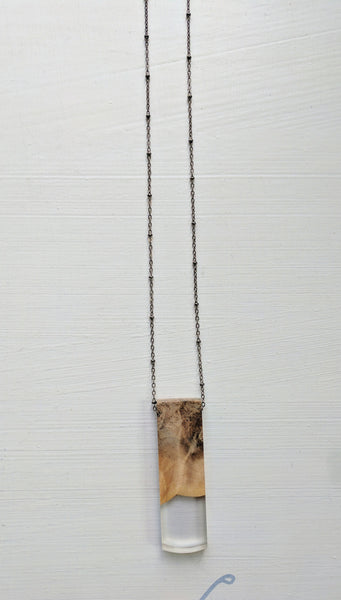 Wood and Purple Resin Rectangle Necklace