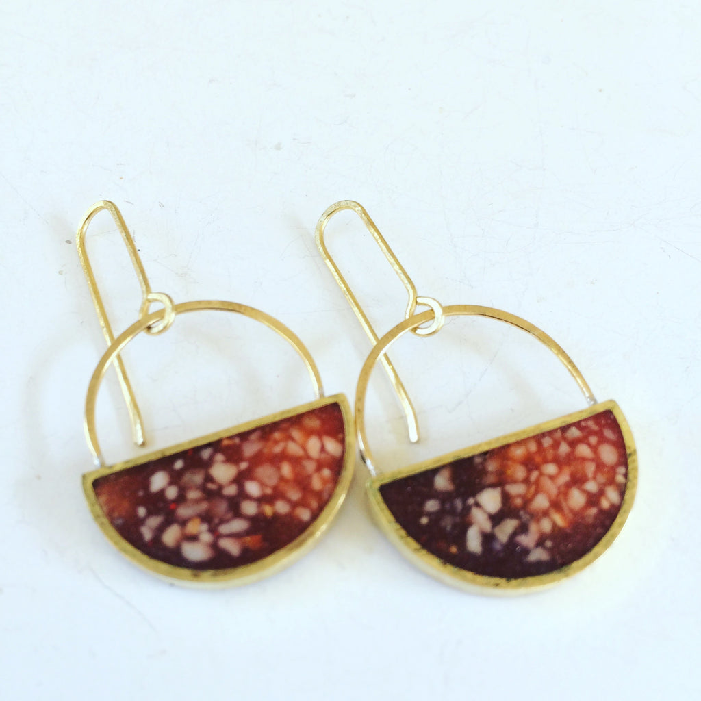Red Resin and Marble Half Moon Earrings