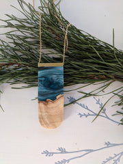 """Silver River Stream"" Wood And Resin Pendant"