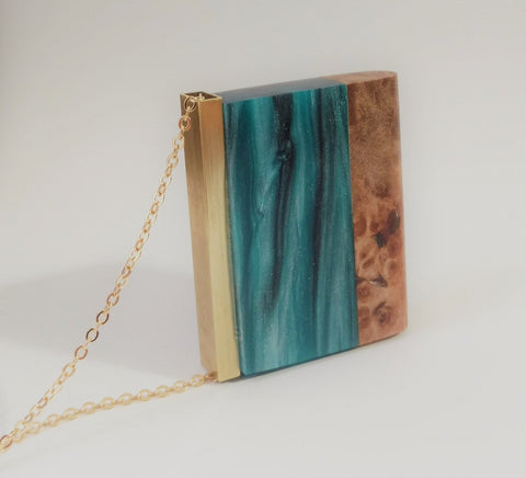 Silver Stream Wood and Resin Pendant