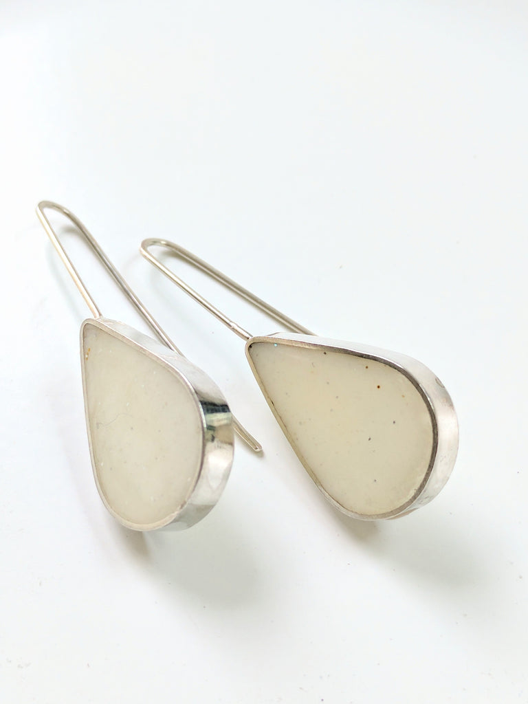 Milky White Sterling Silver Teardrop Earrings