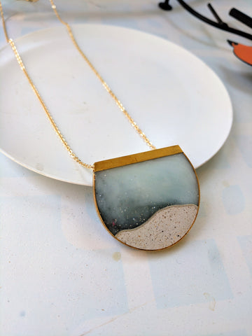 Semi-Circular Skyscape Necklace with Gold Plated Chain