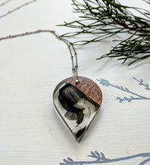 Smokey Teardrop Wood And Resin Necklace