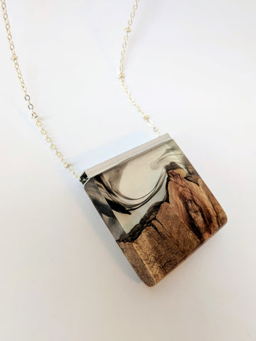 Smoky Mountains Landscape Wood and Resin Pendant