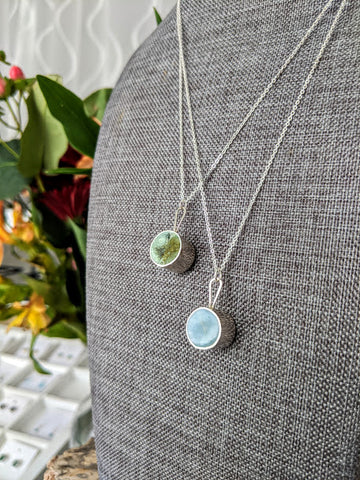 Circle Resin and Sterling Silver Pendants - Moss Green or Blue