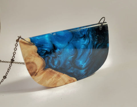 Stormy Ocean Wood and Resin Pendant